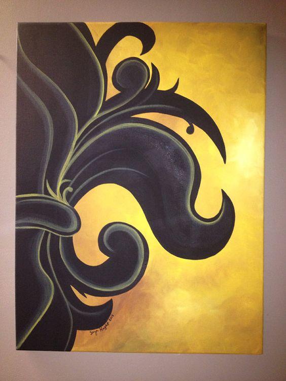 Half fleur de lis painting
