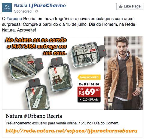 Lançamento!!! Natura Urbano Recria 100 ml de R$ 101,80 por apenas R$ 69,80 Acesse >> http://rede.natura.net/espaco/ljpurocharmebauru/desodorante-colonia-urbano-recria-masculino-100ml-pid55111?_requestid=2142206