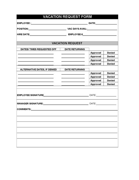 Restaurant employee vacation request form Cafe Pinterest - vacation request form