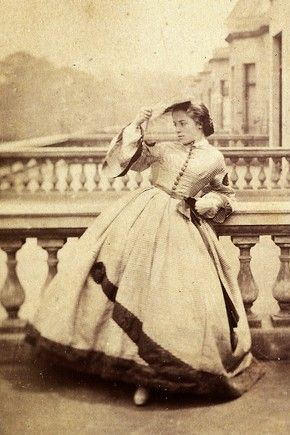 Isabella Grace on a Balcony, London, England, early 1860s. Photo by Clementine, Lady Hawarden.: