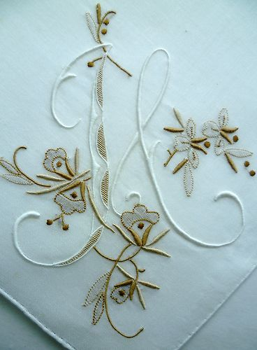 WONDERFUL Vintage 'H' Monogram HANDKERCHIEF