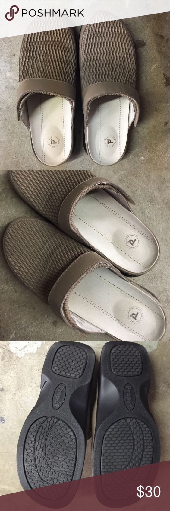 NWOT Propet tan clogs. Most comfortable shoe ever. NWOT Propet stretch tan leather clogs. Adjustable with Velcro. 2 inch wedge. In perfect condition. Propet Shoes Mules & Clogs