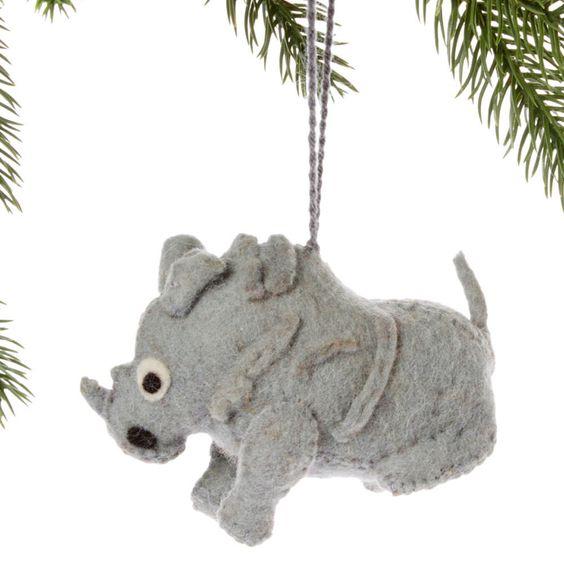 Rhino Felt Holiday Ornament - Silk Road Bazaar (O)