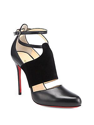 A #Louboutin kind of day - Christian Louboutin Trotter Leather & Suede Ankle-Strap Pumps