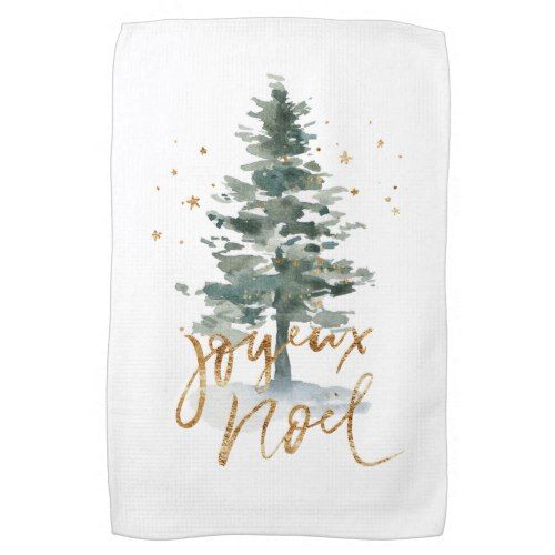 Watercolor Pine Tree Joyeux Noel Hand Towel Pine Christmas Tree Hand Towels Kitchen Hand Towels