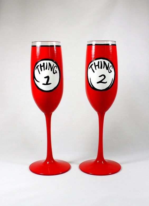 Hand Painted Wine Glasses Thing 1 and Thing by ImpulsiveCreativity, $44.00