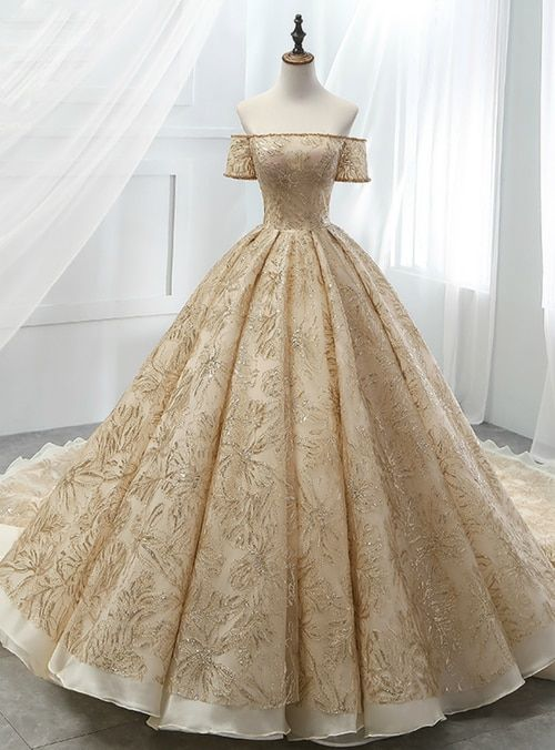Gold Ball Gown Tulle Sequins Off The Sholuder Short Sleeve Wedding