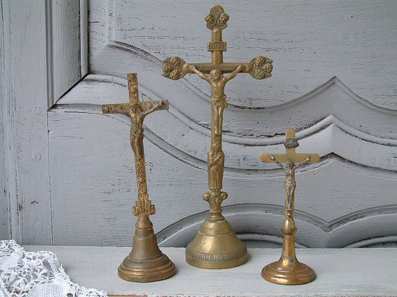 Set of 3 Antique french brass crucifixes with by Chanteduc on Etsy
