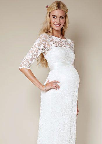 Ivoire Robe de Mariée femme enceinte dentelle marque Tiffany Rose 200\u20ac. Taille 36,
