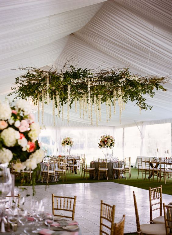 Pretty greenery and white floral chandelier for wedding