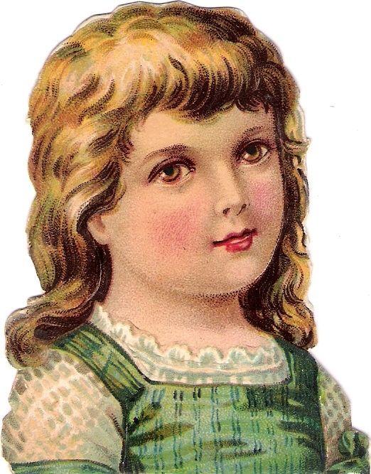 Oblaten Glanzbild scrap die cut chromo Kind  8,5cm Kopf head portrait Mädchen: