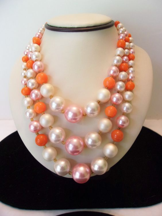 Japan Necklace Vintage Orange Pink Cream Pearl Three Strand Glass Bead Gold Plate by AnnesGlitterBug on Etsy https://www.etsy.com/listing/242329031/japan-necklace-vintage-orange-pink-cream