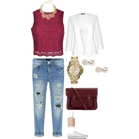 Untitled #1 by melissamatos on Polyvore featuring polyvore, fashion, style, Ally Fashion, Quiz, Converse, The Cambridge Satchel Company, Oscar de la Renta, MICHAEL Michael Kors, Sole Society and Essie