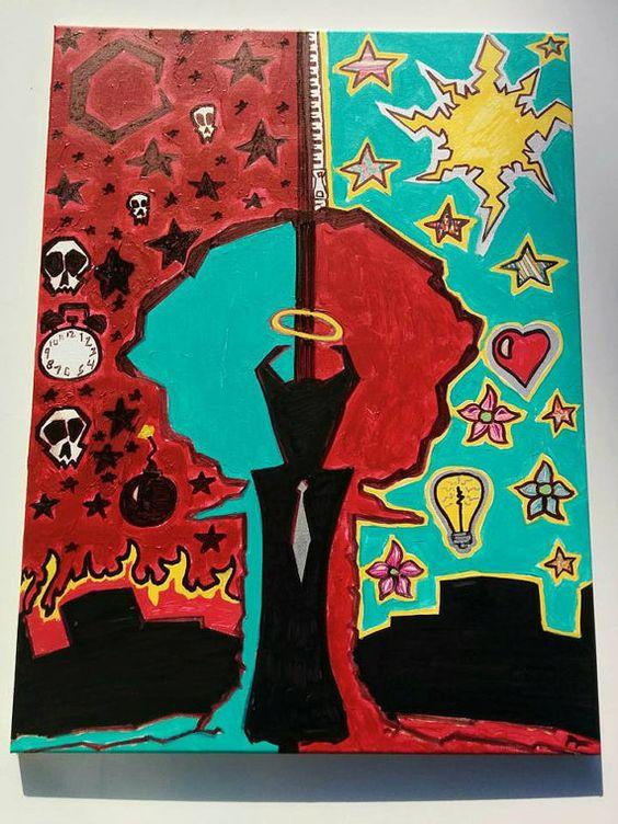 Hi I'm Bipolar 18x24 Canvas Acrylic Ink Psychedelic by LunasNook