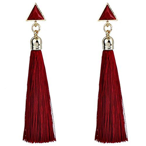 Rouge Boh/ème boucles doreilles Malloom Femme ethnique pompon corde