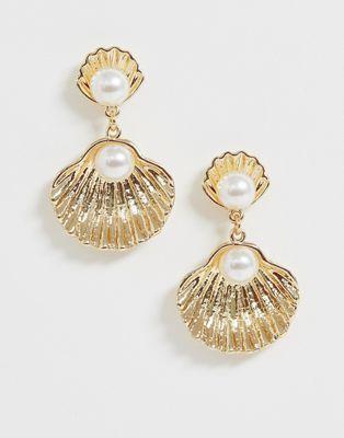Glamorous - Boucles d'oreilles coquillage avec pendant perle - Doré