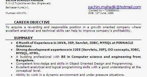 Resume Format For 6 Months Experience In Java Experience Format Months Resume Resumeformat Resume Format Software Engineer Resume