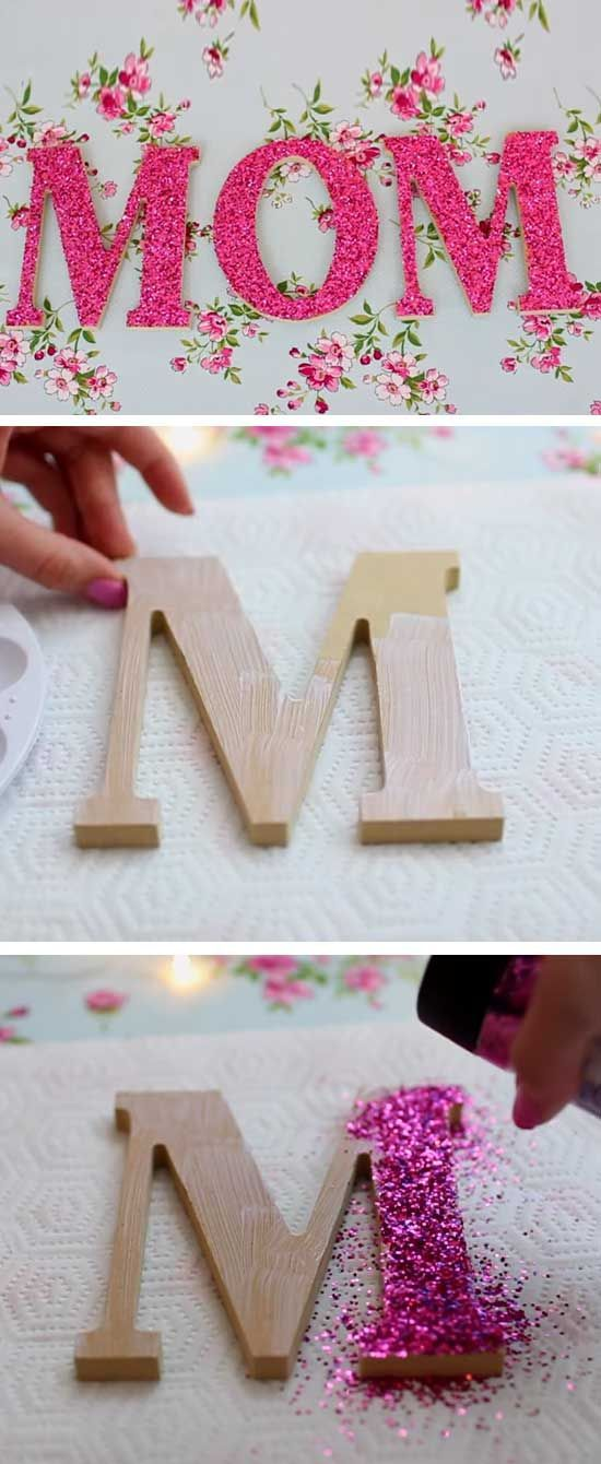 Glitter Wooden Letters Easy Diy Mothers Day Decorations Craft Ideas Diy Mother S Day Crafts Diy Mother S Day Decorations Mother S Day Diy