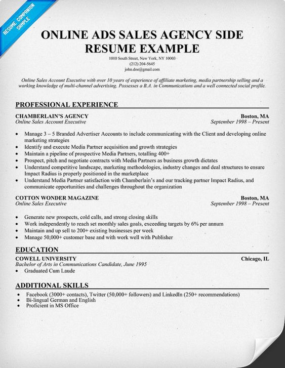 Online Ads Sales Agency Side Resume Example (resumecompanion - ad sales resume
