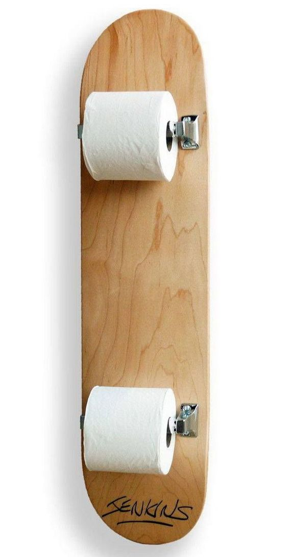 Skateboard Toilet Paper Holder: Versatile skateboards can be repurposed many ways. And here is a good example what you can do with it for placing your toilet paper.