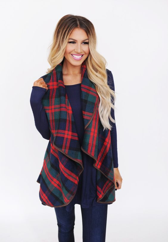 Navy/Red/Greed Plaid Vest - Dottie Couture Boutique