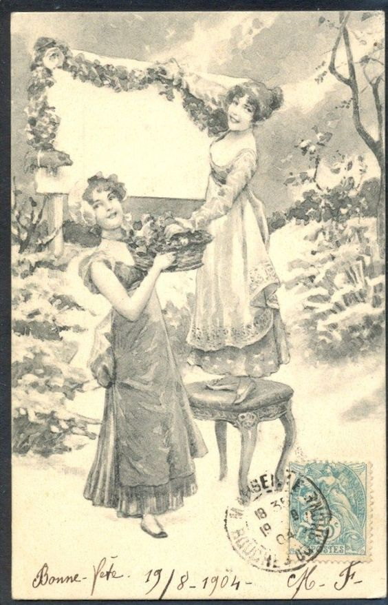 JR072 VIENNE COUPLE de FEMMES COUPLE of LADIES decorating PANEL w FLOWERS BKWI