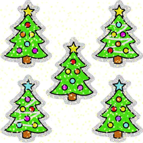Dazzle Stickers Christmas Trees 75 Acid & Lignin Free::Seasons & Holidays::Bulletin Boards & Decor::Boards and Supplies::TeacherSupplySource.com