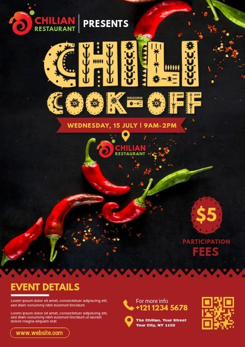 Chili Cook Off Flyer Chili Cook Off Cooking Contest Cook Off