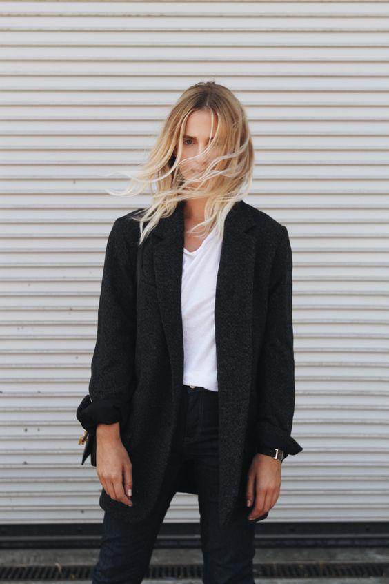 Isabel Marant blazer, Acne Studios jeans, Saint Laurent boots & lulu bag. Via Mija