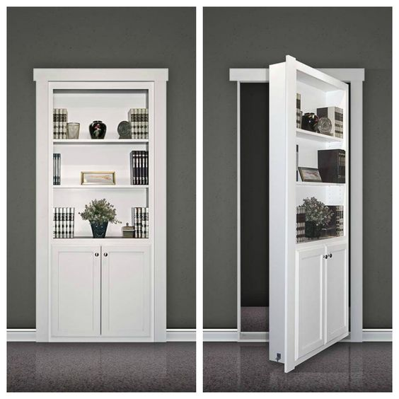 A flush-mount Murphy Door kit looks like a built-in bookcase when the door is closedClick To Enlarge