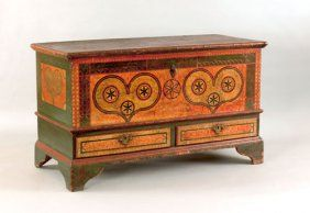 """Furniture: Lehigh County, Pennsylvania painted dower chest dated 1785, inscribed """"Sofia Refinger,"""" the front decorated with two green sponge hearts, each with three pinwheels on a yellow and orange sponge ground with interlacing circle border, above two drawers supported by bracket feet."""