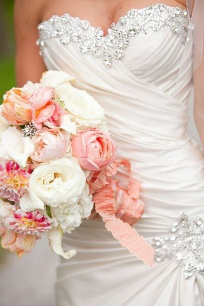 Love the pink and salmon coloring.  I will def have some bling on my dress but a little more subtle. and of course of sweetheart neckline.