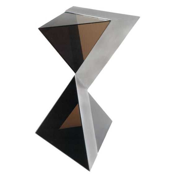 "Duayne Hatchett, ""Pyramidal V"", aluminum and smoked glass, 1980"