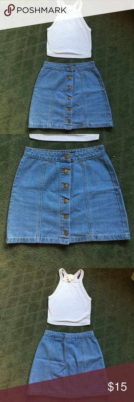 Denim skirt Denim skirt with buttons up the front, barely worn, great condition, lighter blue denim size small Skirts