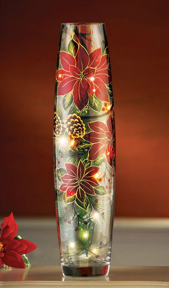 Decorating Ideas > Poinsetta Light Up VaseChristmas DecorationsArt Vase  ~ 174956_Christmas Vase Decoration Ideas