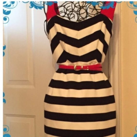 Nue by Shani Dress Striped a-line dress that's fitted. You could rock this with a pair of black heels as well as red heels.... It's very cute on. Worn one time. Nue by Shani Dresses