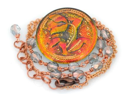 """Fire Tulip"" Czech Glass Button Necklace by Deborah Funches http://yellow-gingerboutique.com/products/button-necklace-1"