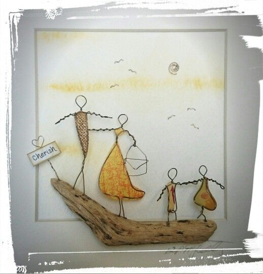 Copper Wire, paper and driftwood