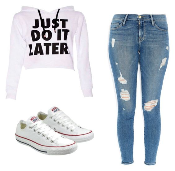 """""""Untitled #52"""" by fallenangelkieo on Polyvore featuring Frame Denim and Converse"""