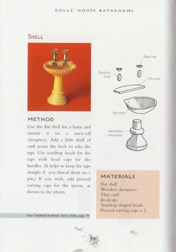 Miniature, bathroom sink from shell and chess piece