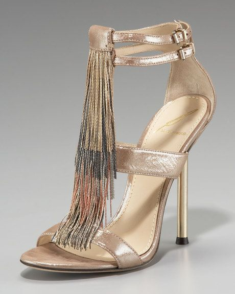 B Brian Atwood Chain-fringe T-strap Sandal