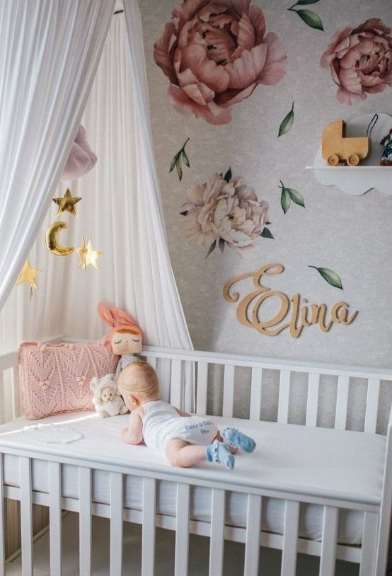 Watercolour Peony Flower Wall Stickers For Baby Girl Room Floral