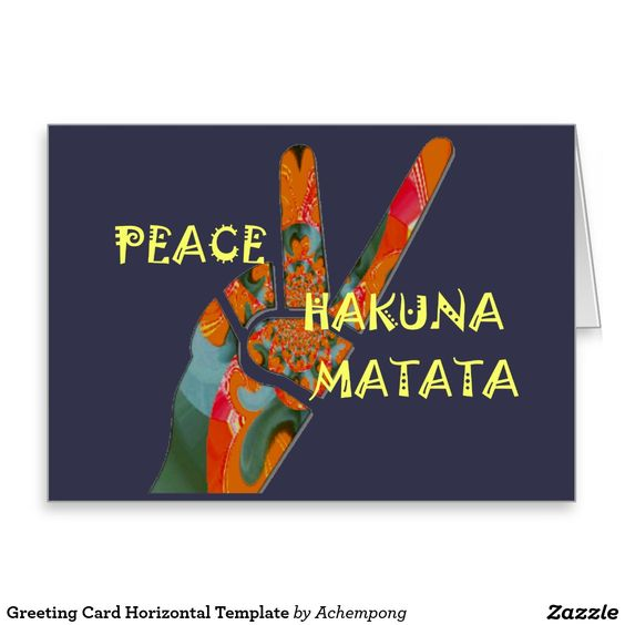"#Greeting #Card #Horizontal #Template #""pīsu #sain (ピースサイン"" #Hakuna #Matata #Peace. Hakuna Matata Peace #hand #two #fingers sign."