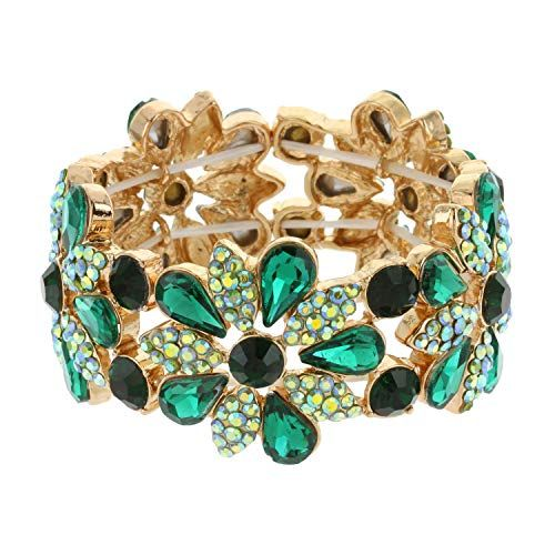 YJEdward 18K Rose Gold Plated Colored Flower Bracelet Bangle Women Fashion Mother Gift