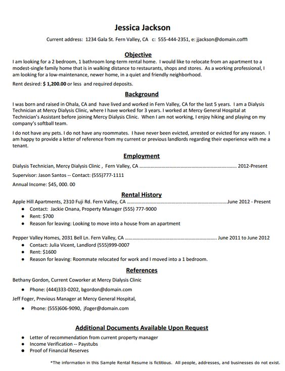 Rental Resume Template SFlife Pinterest - dialysis technician resume