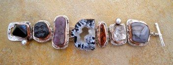 BS12 - 19   Bracelet Silver with Copper Bezels w/ agate, buddha, lepidolite, geode slice, jasper, herkimer diamond, botswana agate & pearls