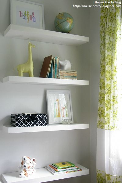 Neutral and sweet baby room chic cheap nursery for Cheap floating shelves
