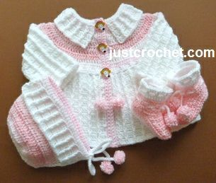 Free baby crochet pattern coat, bonnet and booties usa: