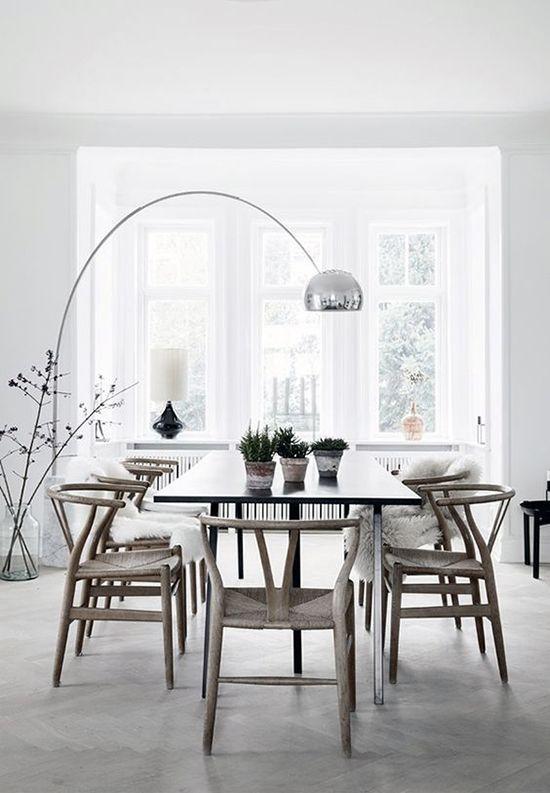 Monotone Dining Room With Arc Floor Lamp Scandinavian Dining Room Dining Room Design Dining Room Decor