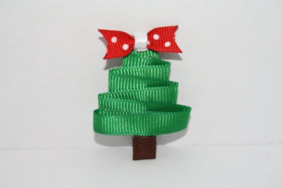 Christmas Tree with red bow for hair or by DesignBeginnings, $8.00